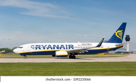 MANCHESTER AIRPORT - MAY 15th 2018: Ryanair Boeing 737-8AS preparing to take off at Manchester Airport, UK MAY 15th, 2018