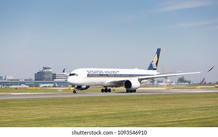 MANCHESTER AIRPORT - MAY 15th 2018: Singapore Airlines  Airbus A350-900 preparing to take off at Manchester Airport, UK MAY 15th, 2018