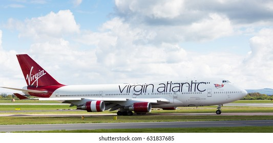 MANCHESTER AIRPORT -  MAY 1st 2017: Virgin Atlantic boeing 747-400 preparing to take off at Manchester Airport, UK May 1st, 2017