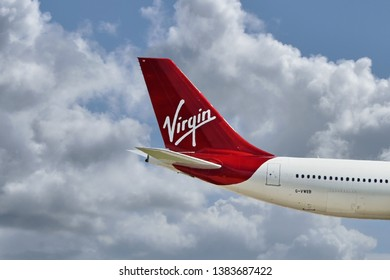 Manchester Airport, United Kingdom - April 2, 2019: Virgin Atlantic G-VWEB Airbus A340-642 MSN 787 moments after take off.