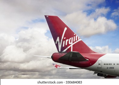 Manchester Airport, United kingdom - August 30, 2015: Virgin Atlantic Airways Boeing 747-443 cn 30885-1268 G-VROS moment after take off.