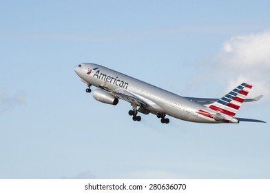 Manchester Airport, United Kingdom - February 23, 2015: American Airlines N290AY Airbus A330-243 cn 1480 moment after take off.