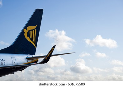 Manchester Airport, United Kingdom - February 7, 2017: Ryanair EI-EMJ Boeing 737-8AS(WL) - cn 34975 / 3271 moments after arrival.