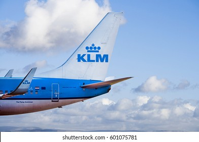 Manchester Airport, United Kingdom - February 7, 2017: KLM Royal Dutch Airlines Boeing 737-700 moments after arrival.