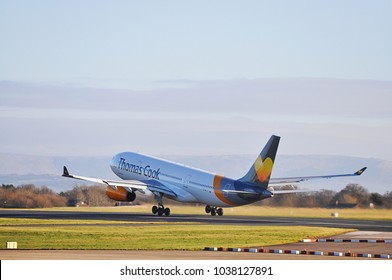 Manchester Airport, United Kingdom -  January 8, 2018: Thomas Cook Airlines Airbus A330-243 MSN 254 G-MLJL taking off.