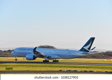 Manchester Airport, United Kingdom -  January 8, 2018: Cathay Pacific Airways Airbus A350-941 MSN 119 B-LRR taking off.