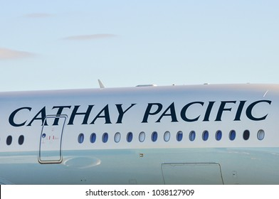 Manchester Airport, United Kingdom -  January 8, 2018: Cathay Pacific Airways Airbus A350-941 MSN 119 B-LRR preparing for take off.