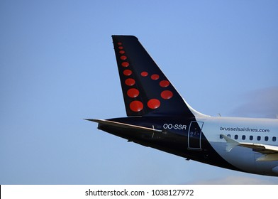 Manchester Airport, United Kingdom -  January 8, 2018: Brussels Airlines Airbus A319-112 MSN 4275 OO-SSR moments after take off.