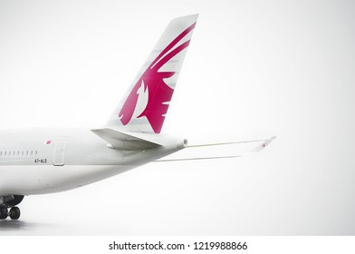 Manchester Airport, United Kingdom - October 12, 2018: Qatar Airways Airbus A350-941 A7-ALS moments after landing.