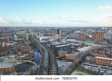 Manchester city centre aerial drone view hilton hotel beetham tower