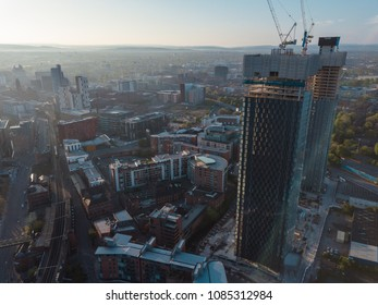 Manchester City Centre Drone Aerial View Above Building Work Skyline Construction Blue Sky Summer Beetham Tower