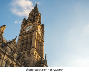 Manchester City Hall with tower - old landmark in North West England (UK).