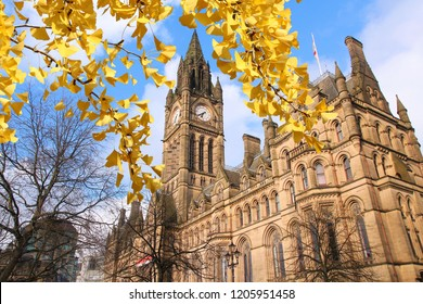 Manchester - city in North West England (UK). City Hall. Autumn leaves colors.