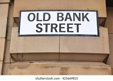 Manchester - city in North West England (UK). Old Bank Street sign.