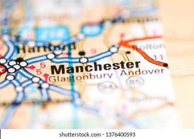 Manchester. Connecticut. USA on a geography map