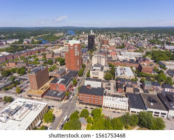 Manchester downtown building including City Hall Plaza and Brady Sullivan Plaza with Merrimack River at the background aerial view, Manchester, New Hampshire, NH, USA.