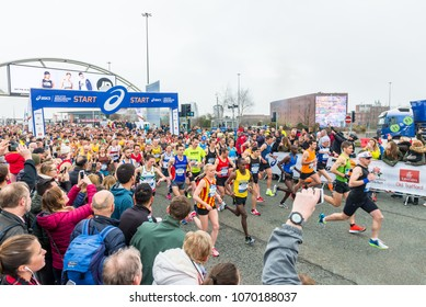 MANCHESTER, ENGLAND - 08 APRIL, 2018: START OF THE GREATER MANCHESTER MARATHON in Manchester, UK