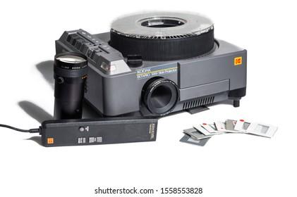 Manchester, England, 12/11/19  Kodak EKTAPRO 5000 Slide Projector for 35mm film photographs photo slides Vintage retro photography equipment shot in studio on white background isolated. Grey projekter