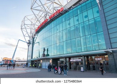 Manchester, England - 22 December 2016 : Old Trafford stadium the home of Manchester United. It is the largest club stadium of any football team in United Kingdom.
