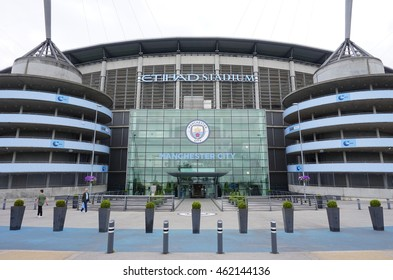 MANCHESTER, ENGLAND -27 JULY 2016- Built in 2002, the Etihad Stadium is home to the Manchester City football club.