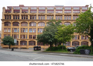 MANCHESTER, ENGLAND -27 JULY 2016- Buildings in downtown Manchester, the second largest city in England. The city centre was revitalized after the 1996 IRA bombing.