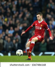 MANCHESTER, ENGLAND - APRIL 10: Andrew Robertson  during the Champions League quarter final match between Manchester City and Liverpool at the Etihad Stadium on April 10, 2018