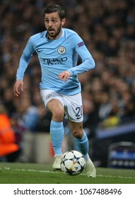 MANCHESTER, ENGLAND - APRIL 10: Bernardo Silva  during the Champions League quarter final match between Manchester City and Liverpool at the Etihad Stadium on April 10, 2018