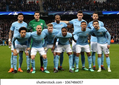 MANCHESTER, ENGLAND - APRIL 10:  Manchester City team line up during the Champions League quarter final match between Manchester City and Liverpool at the Etihad Stadium on April 10, 2018