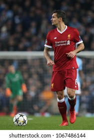 MANCHESTER, ENGLAND - APRIL 10: Dejan Lovren  during the Champions League quarter final match between Manchester City and Liverpool at the Etihad Stadium on April 10, 2018