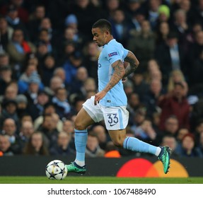 MANCHESTER, ENGLAND - APRIL 10: Gabriel Jesus  during the Champions League quarter final match between Manchester City and Liverpool at the Etihad Stadium on April 10, 2018