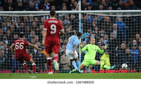 MANCHESTER, ENGLAND - APRIL 10: Gabriel Jesus  scores a goal during the Champions League quarter final match between Manchester City and Liverpool at the Etihad Stadium on April 10, 2018