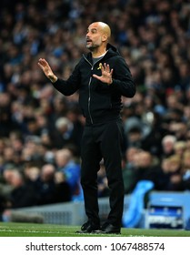 MANCHESTER, ENGLAND - APRIL 10: Josep Guardiola Manager  during the Champions League quarter final match between Manchester City and Liverpool at the Etihad Stadium on April 10, 2018