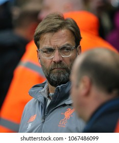 MANCHESTER, ENGLAND - APRIL 10: Jurgen Klopp Manager  during the Champions League quarter final match between Manchester City and Liverpool at the Etihad Stadium on April 10, 2018