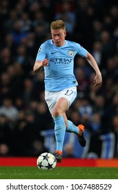 MANCHESTER, ENGLAND - APRIL 10: Kevin De Bruyne  during the Champions League quarter final match between Manchester City and Liverpool at the Etihad Stadium on April 10, 2018