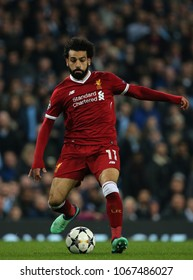 MANCHESTER, ENGLAND - APRIL 10:  Mohamed Salah  during the Champions League quarter final match between Manchester City and Liverpool at the Etihad Stadium on April 10, 2018