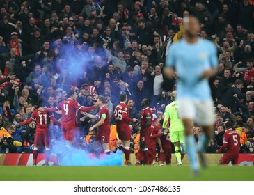 MANCHESTER, ENGLAND - APRIL 10: Mohamed Salah   celebrates scoring a goal during the Champions League quarter final match between Manchester City and Liverpool at the Etihad Stadium on April 10, 2018