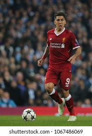 MANCHESTER, ENGLAND - APRIL 10: Roberto Firmino  during the Champions League quarter final match between Manchester City and Liverpool at the Etihad Stadium on April 10, 2018