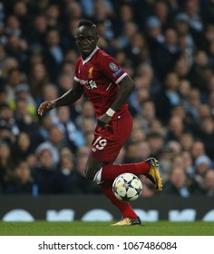 MANCHESTER, ENGLAND - APRIL 10: Sadio Mane  during the Champions League quarter final match between Manchester City and Liverpool at the Etihad Stadium on April 10, 2018