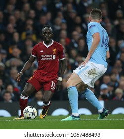 MANCHESTER, ENGLAND - APRIL 10: Sadio Mane  during the Champions League quarter final leg two match between Manchester City and Liverpool at The City of Manchester Stadium on April 10, 2018