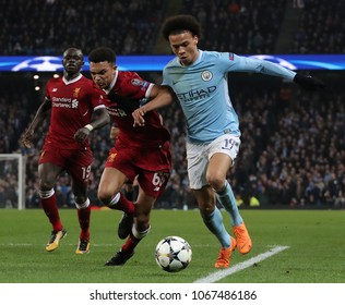 MANCHESTER, ENGLAND - APRIL 10: Trent Alexander-Arnold  and Leroy Sane  during the Champions League quarter final match between Manchester City and Liverpool at the Etihad Stadium on April 10, 2018
