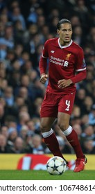 MANCHESTER, ENGLAND - APRIL 10: Virgil van Dijk  during the Champions League quarter final match between Manchester City and Liverpool at the Etihad Stadium on April 10, 2018