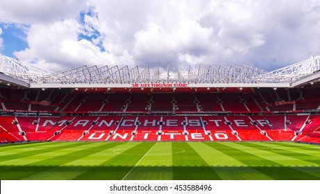 MANCHESTER, ENGLAND - APRIL 13 : The Old Trafford stadium on APRIL 13,2016 in Manchester, England. Old Trafford is home of Manchester United football club