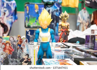 MANCHESTER, ENGLAND - APRIL 14, 2019: Goku figure at the Manchester Anime and Gaming Convention