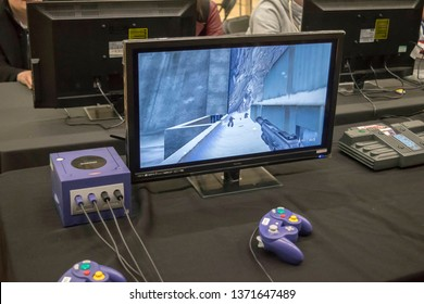 MANCHESTER, ENGLAND - APRIL 14, 2019: James Bond on Nintendo Gamecube at the Manchester Anime and Gaming Convention