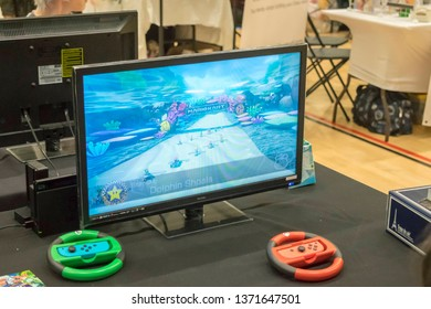 MANCHESTER, ENGLAND - APRIL 14, 2019: Mario Kart 8 on the Nintendo Switch at the Manchester Anime and Gaming Convention