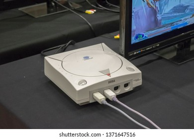 MANCHESTER, ENGLAND - APRIL 14, 2019: Sega Dreamcast at the Manchester Anime and Gaming Convention
