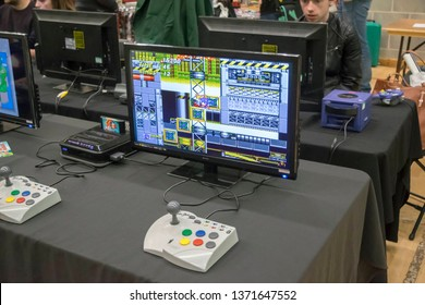MANCHESTER, ENGLAND - APRIL 14, 2019: Sonic and Tails game at the Manchester Anime and Gaming Convention