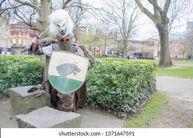 MANCHESTER, ENGLAND - APRIL 14, 2019: Ned Stark Cosplayer posing at the Manchester Anime and Gaming Convention