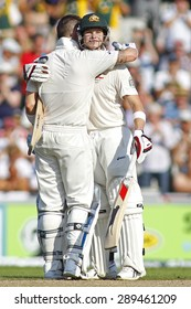 MANCHESTER, ENGLAND - August 01 2013: Michael Clarke celebrates scoring a century during day one of  the Investec Ashes 3rd test match at Old Trafford Cricket Ground, on August 01, 2013