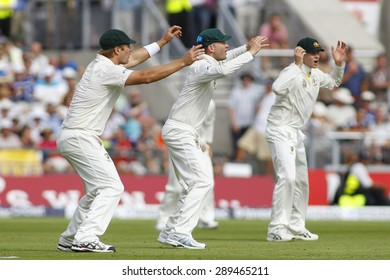 MANCHESTER, ENGLAND - August 02 2013: Shane Watson, Michael Clarke and Steven Smith during day two of  the Investec Ashes 3rd test match at Old Trafford Cricket Ground, on August 02, 2013